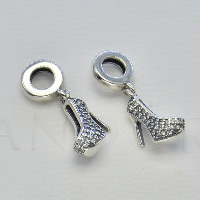 Thailand Sterling Silver European Pendant, Shoes, without troll & with cubic zirconia, Hole:Approx 4.5-5mm, Sold By PC