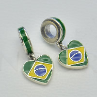 Thailand Sterling Silver European Pendant, Heart, enamel, Hole:Approx 4.5-5mm, Sold By PC