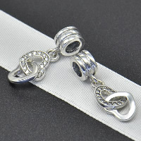 Thailand Sterling Silver European Pendant, Heart, without troll & with cubic zirconia, Hole:Approx 4.5-5mm, Sold By PC