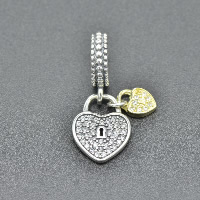 Thailand Sterling Silver European Pendant, Lock, plated, without troll & with cubic zirconia, Hole:Approx 4.5-5mm, Sold By PC