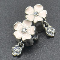 Thailand Sterling Silver European Pendant, Flower, without troll & enamel & with cubic zirconia, Hole:Approx 4.5-5mm, Sold By PC