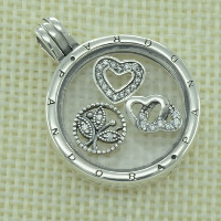 Thailand Sterling Silver European Prayer Box Pendant, with Glass, Flat Round, with letter pattern & with cubic zirconia, Hole:Approx 4.5-5mm, Sold By PC