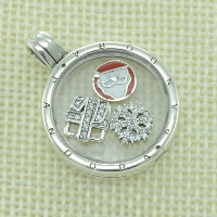 European Christmas Pendant, Thailand Sterling Silver, with Glass, Flat Round, Christmas jewelry & with letter pattern & enamel & with cubic zirconia, Hole:Approx 4.5-5mm, Sold By PC