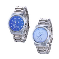 Men Wrist Watch, Zinc Alloy, with Glass, platinum color plated, for man, more colors for choice, nickel, lead & cadmium free, 41mm, 19mm, Length:Approx 10.2 Inch, 2PCs/Lot, Sold By Lot