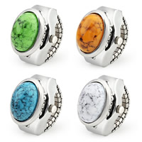 Zinc Alloy Finger Ring Watch, with Stone & Glass, platinum color plated, Unisex & imitation turquoise, more colors for choice, nickel, lead & cadmium free, 22x20mm, US Ring Size:6-8, Sold By PC