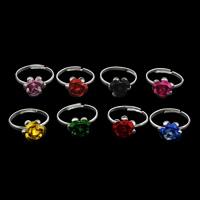 Железо Открыть палец кольцо, с алюминиевая цветочный орнамент, Форма цветка, плакирован серебром, регулируемый & Женский, разноцветный, не содержит свинец и кадмий, 19x22x11mm, размер:6.5, 100ПК/сумка, продается сумка