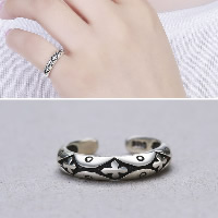 Thailand Sterling Silver Cuff Finger Ring with cross pattern   open   adjustable   for woman 3.80mm US Ring Size:8