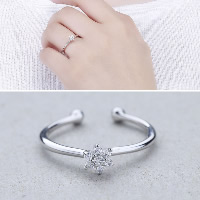 925 Sterling Silver Cuff Finger Ring Flower open   adjustable   for woman   with cubic zirconia 4.50x4.80mm US Ring Size:8.5