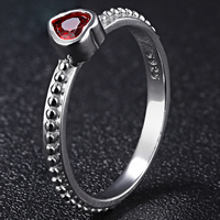 Sterling Silver Finger Rings 925 Sterling Silver Heart for woman   with rhinestone 5mm