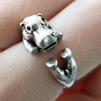 цинковый сплав Манжеты палец кольцо, Гиппопотам, плакированный цветом под старое серебро, регулируемый & Женский & со стразами, не содержит свинец и кадмий, 15-16mm, размер:4-5, продается PC
