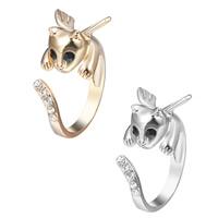 цинковый сплав Манжеты палец кольцо, Кошка, Другое покрытие, регулируемый & Женский & со стразами, Много цветов для выбора, не содержит свинец и кадмий, 15-16mm, размер:4-5, продается PC