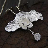 Кулоны из серебра, Серебро 925 пробы, Форма цветка, 24x50mm, отверстие:Приблизительно 3-5mm, продается PC