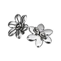 Цветок цинкового сплава разъем, цинковый сплав, Форма цветка, плакированный цветом под старое серебро, 1/1 петля, не содержит никель, свинец, 14x13x6mm, отверстие:Приблизительно 1.4mm, 200ПК/Лот, продается Лот