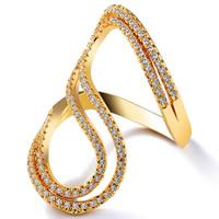 Кубический циркон микро проложить кольцо-латунь, Латунь, 18K золотым напылением, разный размер для выбора & инкрустированное микро кубического циркония & Женский, 29mm, продается PC