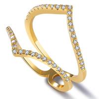 Кубический циркон микро проложить кольцо-латунь, Латунь, 18K золотым напылением, разный размер для выбора & инкрустированное микро кубического циркония & Женский, 18mm, продается PC