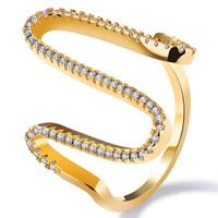 Кубический циркон микро проложить кольцо-латунь, Латунь, 18K золотым напылением, разный размер для выбора & инкрустированное микро кубического циркония & Женский, 28mm, продается PC
