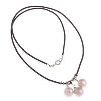 Природное пресноводное жемчужное ожерелье, Латунь, с пластиковые веревки & Пресноводные жемчуги, с 6cm наполнитель цепи, Платиновое покрытие платиновым цвет, природный, не содержит никель, свинец, 10x21x8mm, Продан через Приблизительно 17 дюймовый Strand