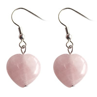 розовый кварц Сережка, латунь крюк, Сердце, Платиновое покрытие платиновым цвет, Женский, не содержит никель, свинец, 15x36mm, продается Пара