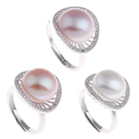Freshwater Pearl Finger Ring Brass with Freshwater Pearl platinum color plated natural   open   adjustable   micro pave cubic zirconia   for woman nickel lead   cadmium free 20x31x17.50mm US Ring Size:6.5