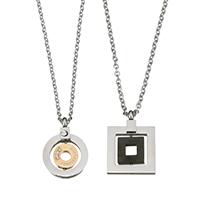 Ожерелье-пара, нержавеющая сталь, слово навсегда любовь, Другое покрытие, Овальный цепь & инкрустированное микро кубического циркония, 29x26mm, 2.5mm, 18x25mm, 2mm, длина:Приблизительно 20 дюймовый, Приблизительно 18 дюймовый, 2пряди/указан, продается указан