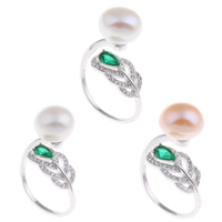Freshwater Pearl Finger Ring Brass with Freshwater Pearl   Crystal platinum color plated natural   open   micro pave cubic zirconia   for woman   faceted nickel lead   cadmium free 21x29x17mm US Ring Size:9