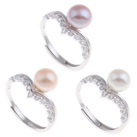 Латунь Открыть палец кольцо, с Пресноводные жемчуги, Платиновое покрытие платиновым цвет, природный & открыть & регулируемый & Женский & с кубическим цирконием, Много цветов для выбора, не содержит никель, свинец, 21x27x11.50mm, размер:7.5, продается PC