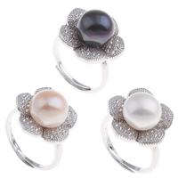Freshwater Pearl Finger Ring Brass with Freshwater Pearl Flower platinum color plated open   adjustable   micro pave cubic zirconia   for woman nickel lead   cadmium free 21x30x19mm US Ring Size:7.5