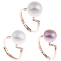 Brass Open Finger Ring with Freshwater Pearl rose gold color plated natural   adjustable   for woman   with cubic zirconia nickel lead   cadmium free 20x30x11mm US Ring Size:6.5