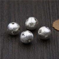 925 Sterling Zilver European Beads, Ronde, geborsteld, 10mm, Gat:Ca 1.5mm, 5pC's/Lot, Verkocht door Lot