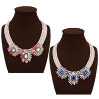 Мода себе ожерелье, пеньковый трос, с Кристаллы & канифоль & цинковый сплав, с 3.1lnch наполнитель цепи, Другое покрытие, Женский & граненый & со стразами, Много цветов для выбора, не содержит никель, свинец, 55mm, Продан через Приблизительно 18.8 дюймовый Strand