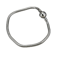 Stainless Steel European Bracelet Cord different length for choice   snake chain original color 3mm 20x10x10mm