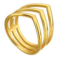 Stainless Steel Finger Ring gold color plated for woman 14mm US Ring Size:8
