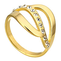 Stainless Steel Finger Ring gold color plated micro pave cubic zirconia   for woman 17mm US Ring Size:10