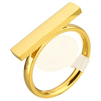 Stainless Steel Finger Ring Rectangle gold color plated for woman 20x4mm US Ring Size:7