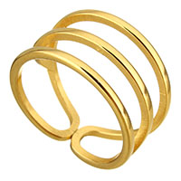 Stainless Steel Cuff Finger Ring gold color plated for woman 12mm US Ring Size:8
