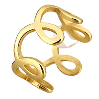 Stainless Steel Finger Ring gold color plated for woman 10mm US Ring Size:6