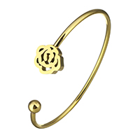 Stainless Steel Cuff Bangle Flower gold color plated for woman 13x14mm 2.5mm 6mm Inner Diameter:Approx 60x48mm 5PCs/Lot