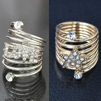 Модные кольца, цинковый сплав, слова любви, Другое покрытие, разные стили для выбора & со стразами, не содержит свинец и кадмий, 32mm, размер:6-10, продается PC
