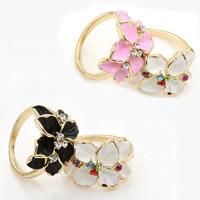 Модные кольца, цинковый сплав, Форма цветка, плакирован золотом, эмаль & со стразами, Много цветов для выбора, не содержит свинец и кадмий, 18mm, размер:6-10, продается PC