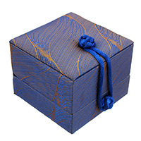 Satin Single Ring Box with Glue Film   Nylon Cord   Velveteen Cube 70x79x63mm 18PCs/Bag