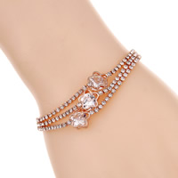 Zinc Alloy Bracelet with 5cm extender chain Flower rose gold color plated for woman   3-strand   with cubic zirconia lead   cadmium free 160mm Sold Per Approx 6 Inch Strand