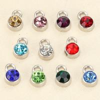 Подвески из кристаллов, нержавеющая сталь, с Кристаллы, Плоская круглая форма, граненый, разноцветный, 6mm, отверстие:Приблизительно 1.5mm, 50ПК/сумка, продается сумка