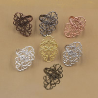 Brass Bezel Ring Base Flower plated adjustable nickel lead   cadmium free 20x30mm US Ring Size:6-9 20PCs/Bag