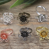 Brass Bezel Ring Base Flower plated adjustable nickel lead   cadmium free 18x7mm US Ring Size:6-9 20PCs/Bag