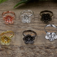 Brass Bezel Ring Base Flower plated adjustable nickel lead   cadmium free 16x6mm US Ring Size:6-9 20PCs/Bag