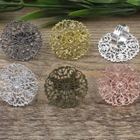 Brass Bezel Ring Base Flower plated adjustable nickel lead   cadmium free 31mm US Ring Size:6-9 10PCs/Bag