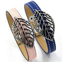 ПУ шнур браслеты, Искусственная кожа, с цинковый сплав, Листок, Другое покрытие, регулируемый & Женский, Много цветов для выбора, не содержит никель, свинец, 40x10mm, длина:Приблизительно 8.2 дюймовый, 6пряди/Лот, продается Лот