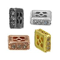 Кубический цирконий микро проложить латунные бусины, Латунь, Квадратная форма, Другое покрытие, инкрустированное микро кубического циркония, Много цветов для выбора, не содержит никель, свинец, 2.50x6x6mm, отверстие:Приблизительно 0.5mm, 20ПК/Лот, продается Лот
