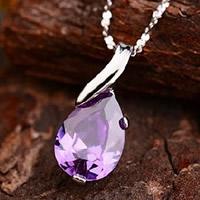 Подвески из кристаллов, Латунь, с Кристаллы, Каплевидная форма, плакированный настоящим серебром, граненый, не содержит никель, свинец, 10x20mm, отверстие:Приблизительно 2-3mm, продается PC