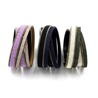 ПУ шнур браслеты, Искусственная кожа, с Стеклянный бисер & цинковый сплав, Другое покрытие, Женский & двунитевая & цветной порошок, Много цветов для выбора, 15mm, длина:Приблизительно 14.7 дюймовый, 3пряди/Лот, продается Лот